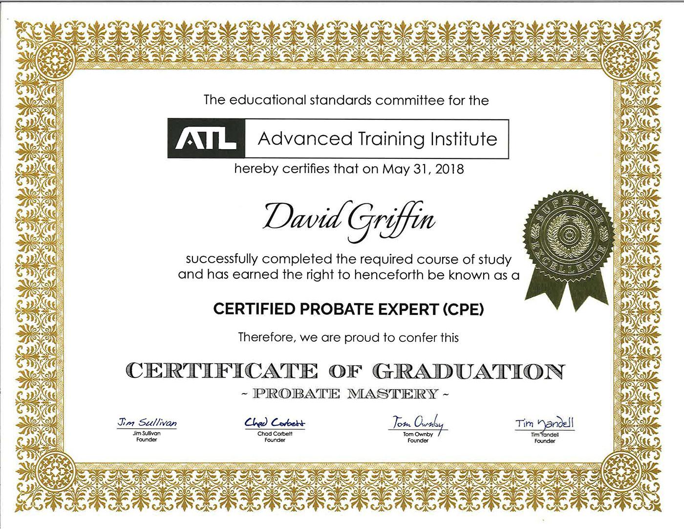 probate certificate