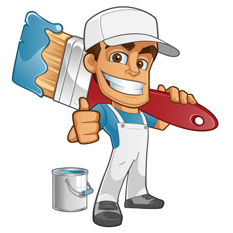 logo of painter man cartoon for DK Bassetts Painting