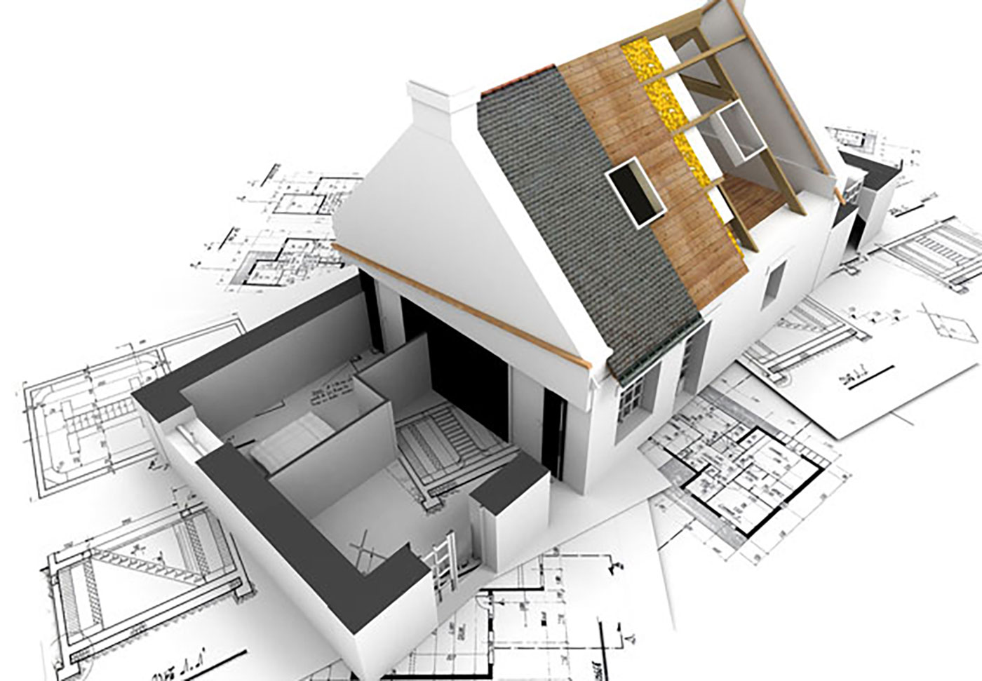 3D image of house under construction and blueprints