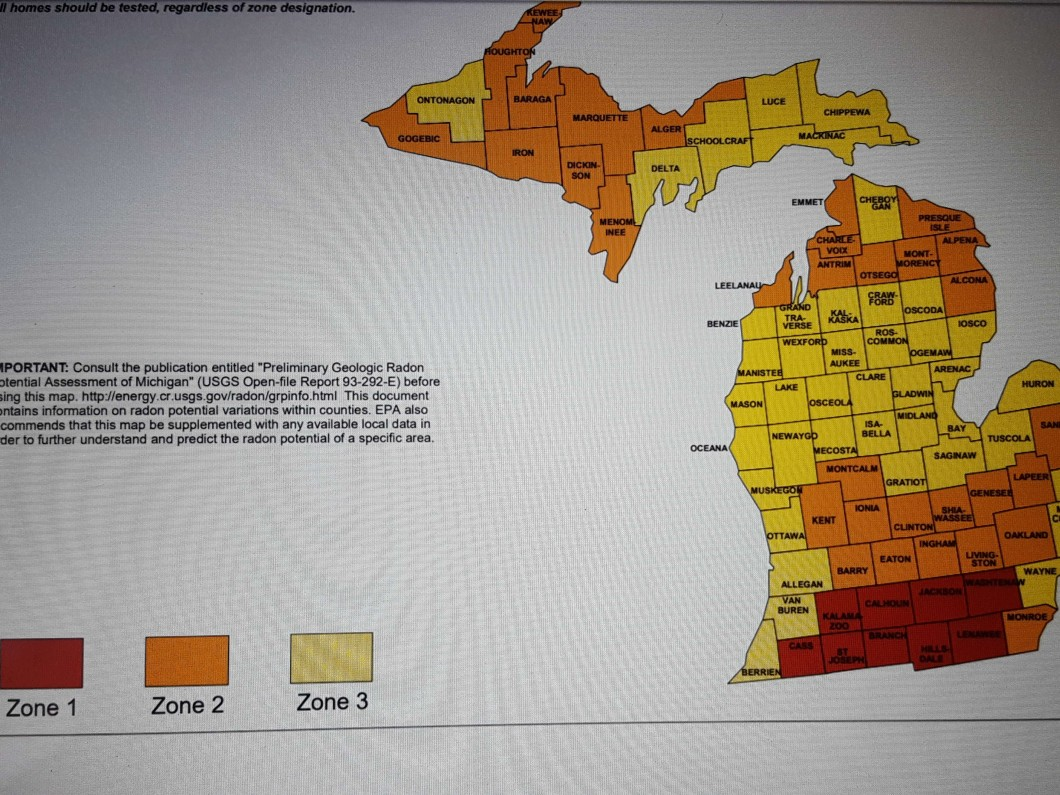 radon zone map