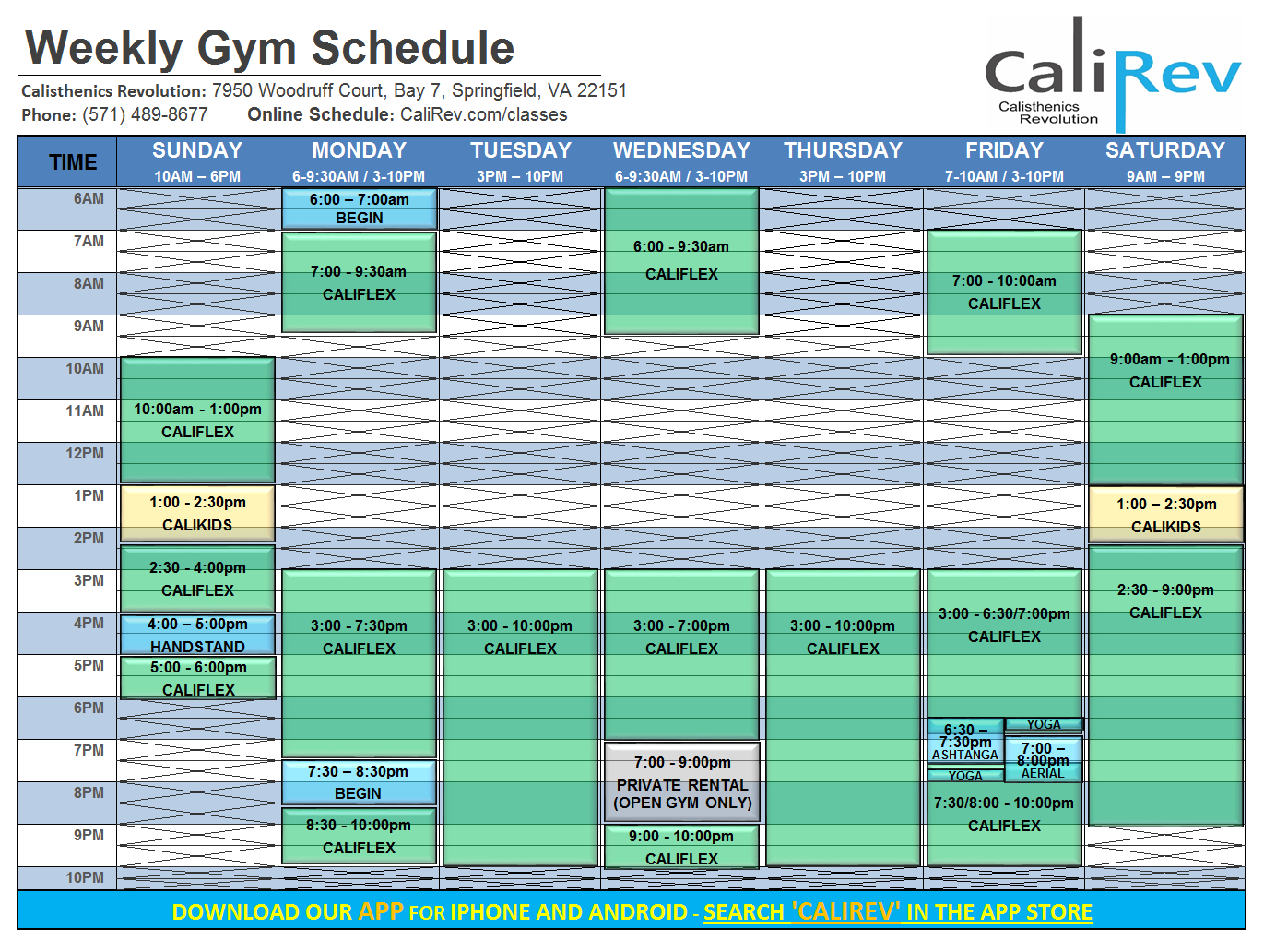 calirev schedule