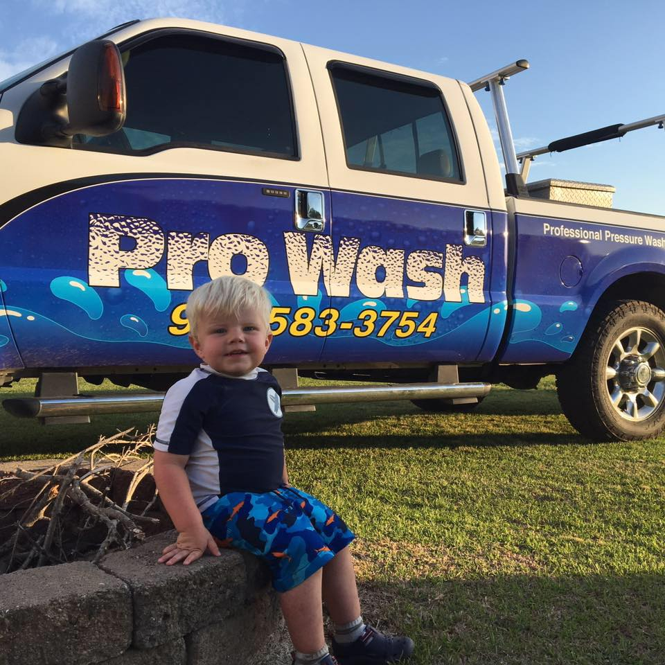 kid with pro wash truck